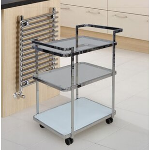 Ferrara Kitchen Cart with Glass Top by Casabianca Furniture