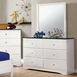 A&J Homes Studio Diane 6 Drawer Double Dresser with Mirror