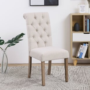 Sharyn Tufted Linen Upholstered Parsons Chair in Ivory Set of 2