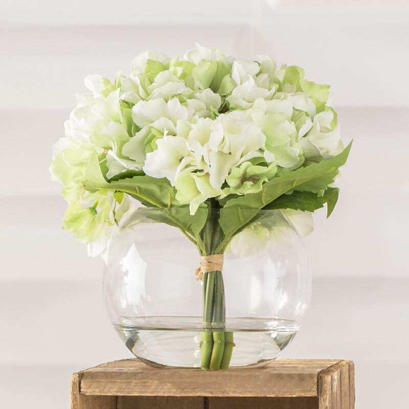 Pure Garden Hydrangea Arrangement In Glass Vase Reviews Wayfair