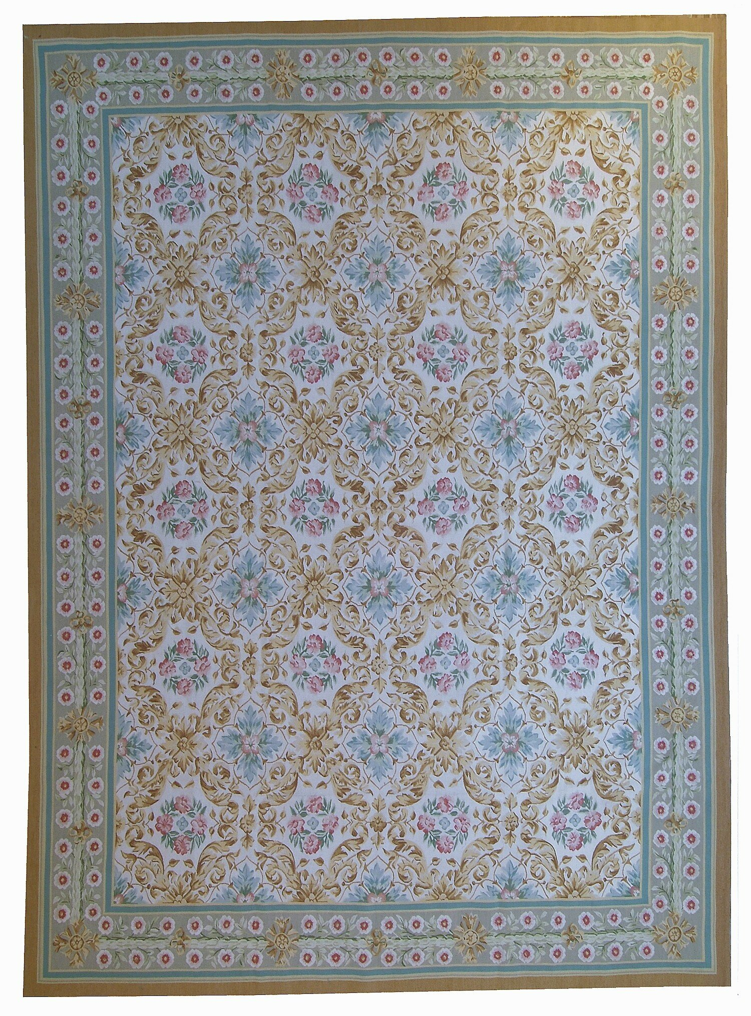 Pasargad Aubusson Hand Woven Wool Beige Green Area Rug Wayfair