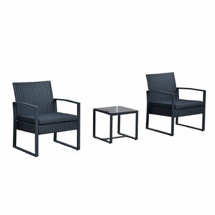 Wrought Studio Ila Outdoor 3 Piece Rattan Seating Group with Cushions