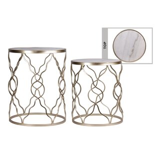 Wickes 2 Piece Marble Top End Table Set by House of Hampton