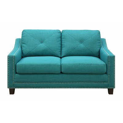 Vaillancourt Loveseat Upholstery Color: Teal by August Grove