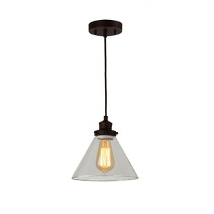 Breakwater Bay Glasser 1-Light Cone Pendant