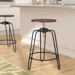 Wrought Studio Galloway Adjustable Height Swivel Bar Stool
