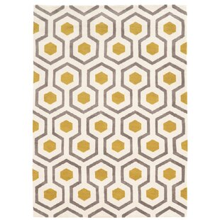 Few Hand Tufted Beige Gray Yellow Area Rug