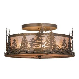 Meyda Tiffany Tall Pines 4-Light Semi-Flush Mount