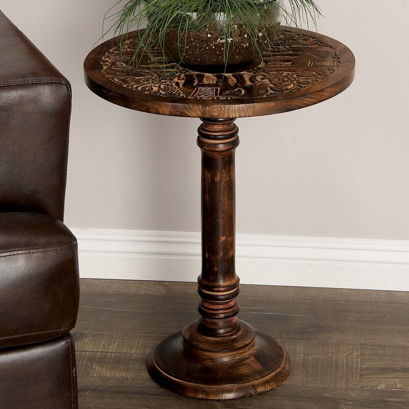Wood Elephant End Table