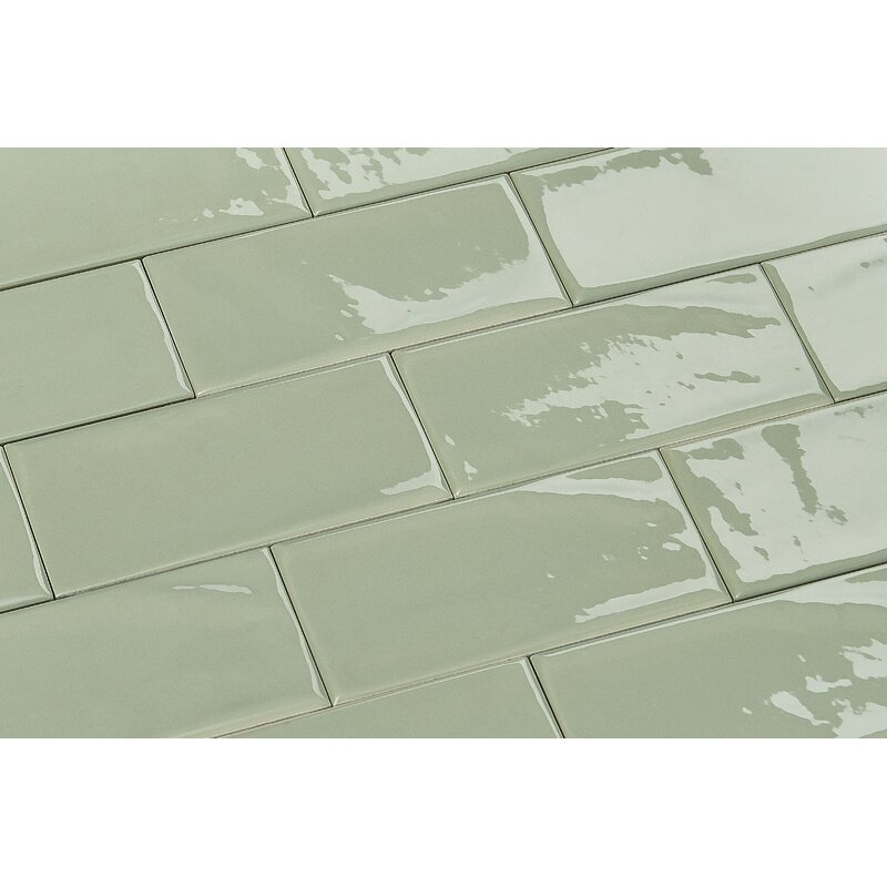 "Mason 3"" x 6"" Ceramic Subway Tile in Light Apple Green"