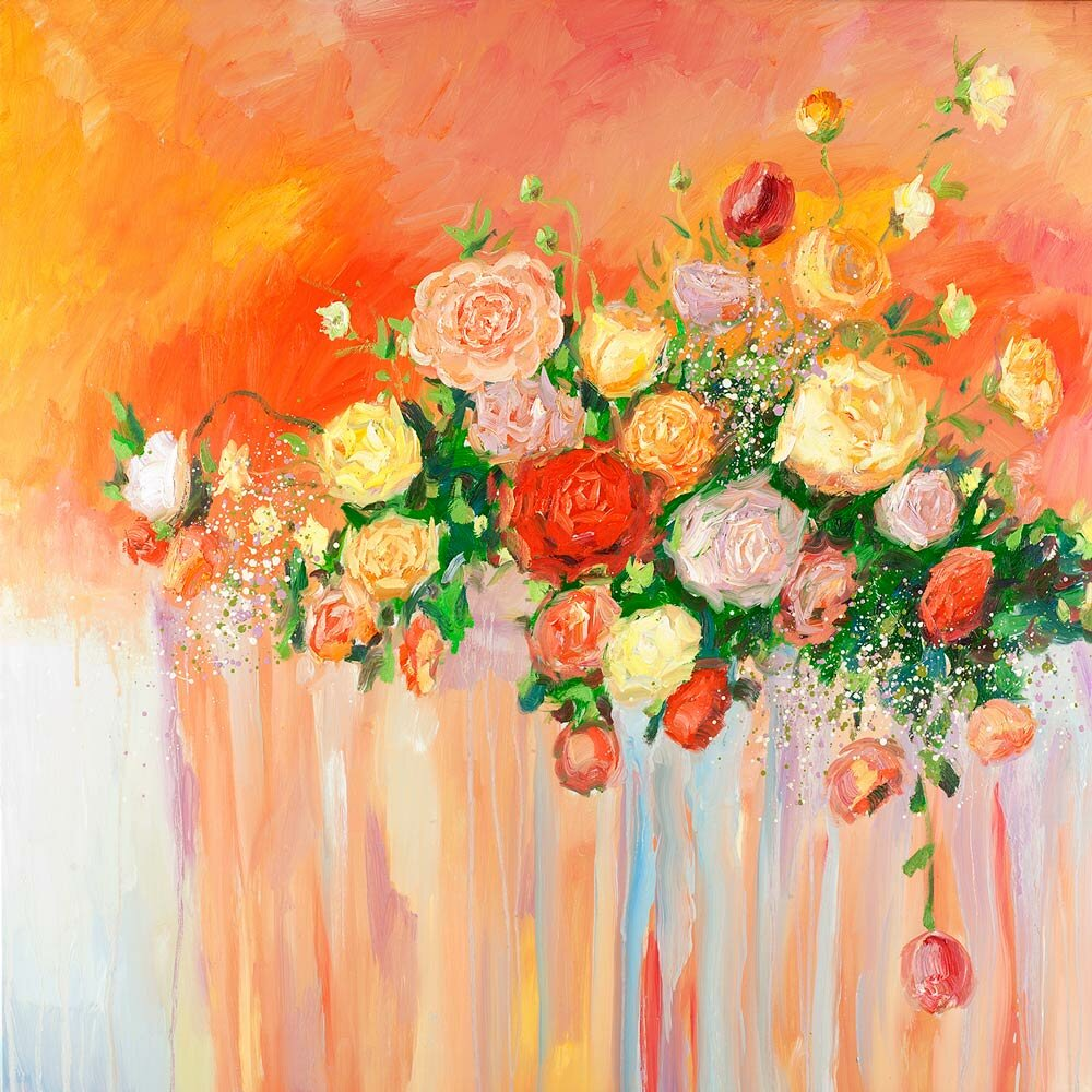 Winston Porter Bouquet Of Flowers Abstract Multicolor Oil Painting