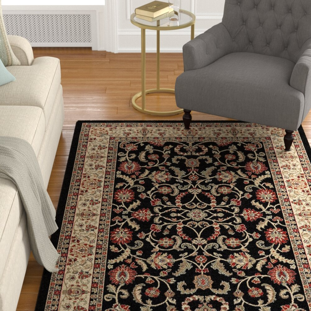 Charlton Home Sharice Keshan Ebony Black Beige Area Rug Wayfair