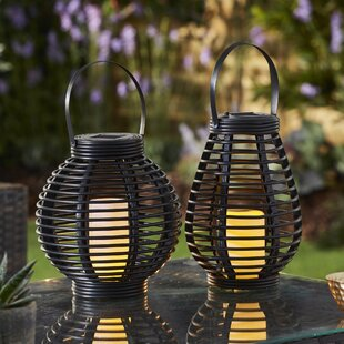 Dennison Black Solar Powered Outdoor Lantern With Electric Candle By Freeport Park