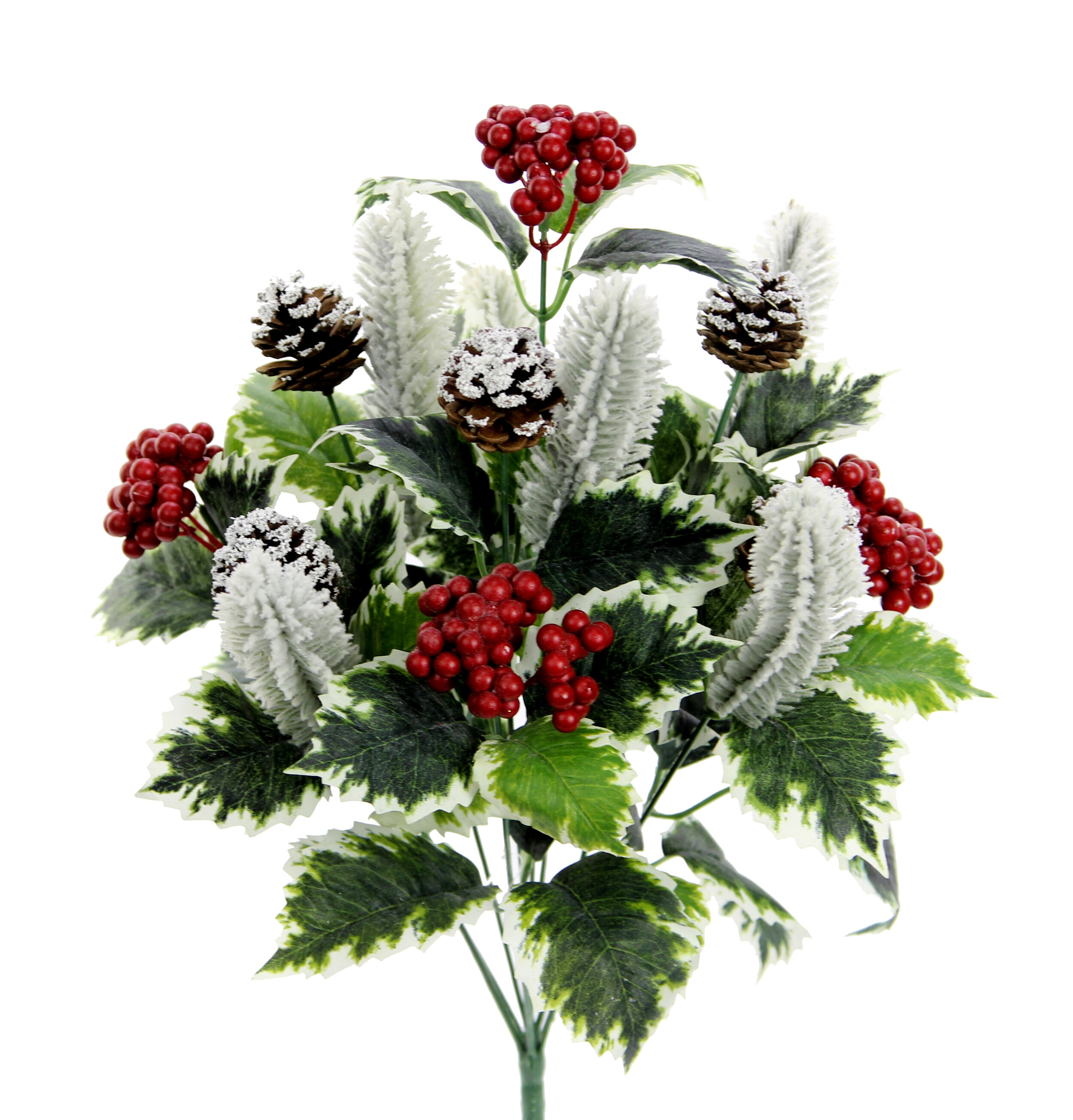 Loon Peak 10 Stems Artificial Holly Leaves Red Berries And Pinecone