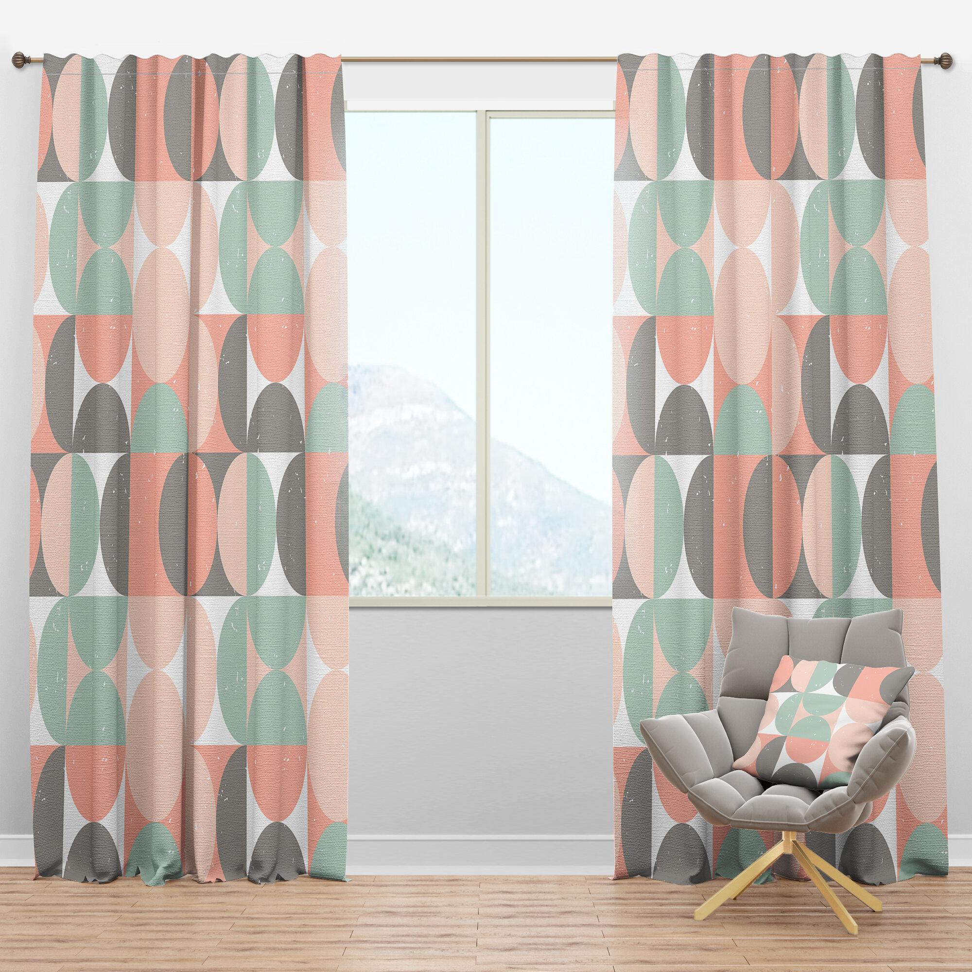 Designart Mid Century Retro Circular Ii Geometric Semi Sheer Thermal Rod Pocket Single Curtain Panel Wayfair