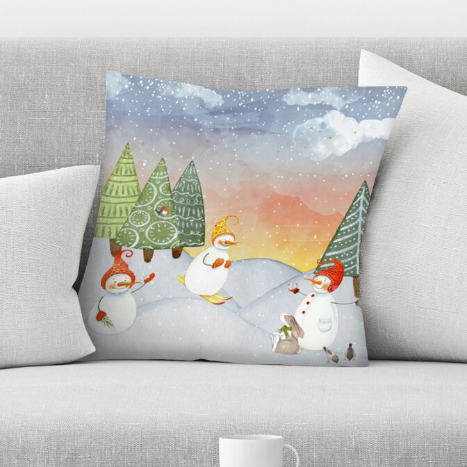 East Urban Home Skiing Snowman In Winter Forest With Bunny Throw Pillow Wayfair