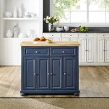 Antonella Kitchen Island Solid Wood by Three Posts