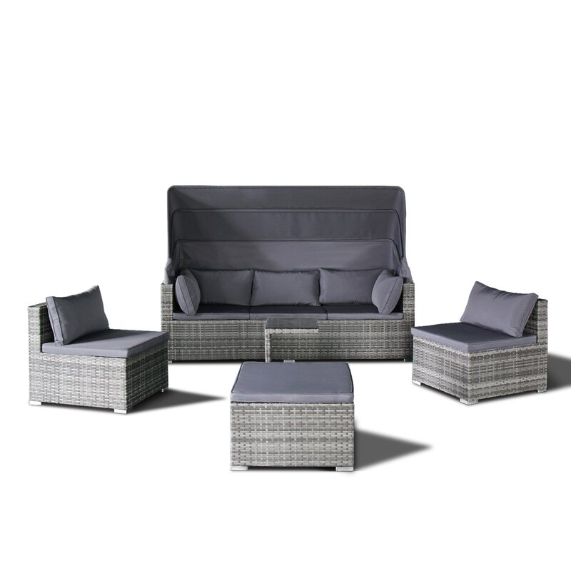 Dierking 5 Piece Rattan Sectional Sofa Set With Cushions