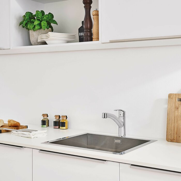 Grohe Eurosmart Single Handle Pull Out Standard Kitchen Faucet with ...