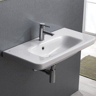 CeraStyle by Nameeks Noura Plus Ceramic Rectangular Drop-In Bathroom Sink with Overflow