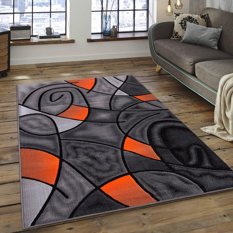 Orange Gray Area Rug