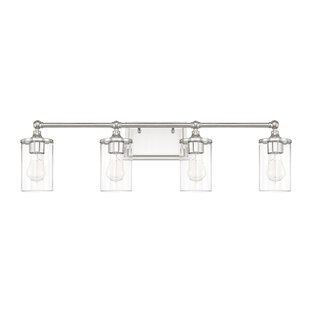 Beachcrest Home Hague 4-Light Vanity Light with Clear Beveled Glass