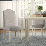 Calila Upholstered Parsons Chair in Antique White (Set of 2) by Canora Grey