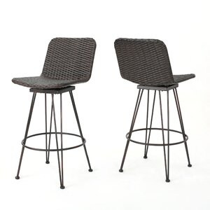 Prevost Outdoor Wicker Bar Stool (Set of 2)