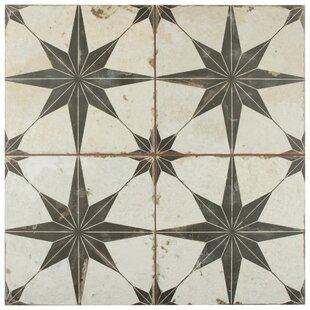 Royalty Estrella 17 63 X Ceramic Patterned Tile In Off White Black