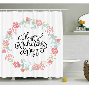 Valentines Day Floral Flowers Buds Roses Tulips Circled Frame Valentine Hearts Single Shower Curtain