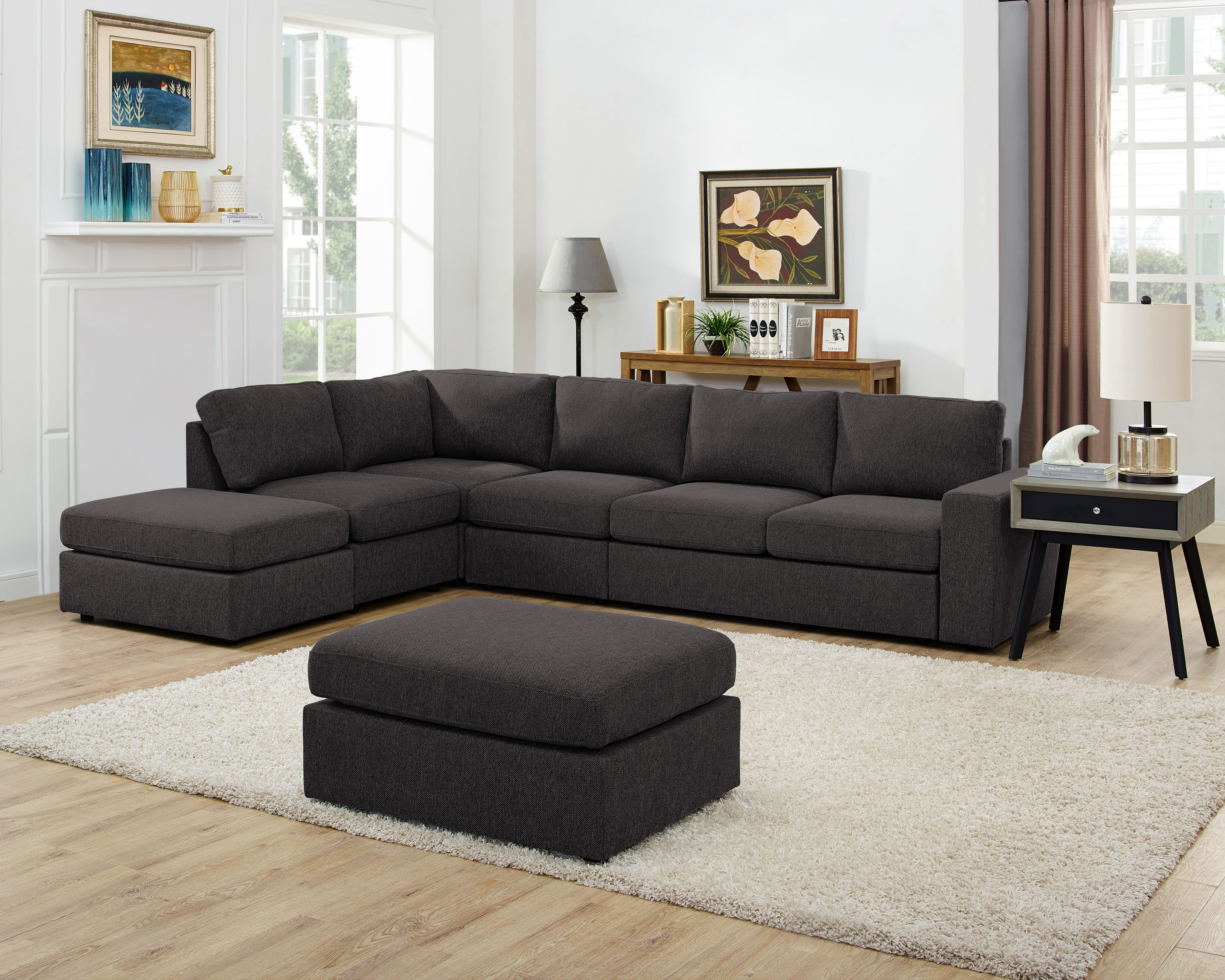 Stupendous Gosnell Modular Sectional With Ottoman Andrewgaddart Wooden Chair Designs For Living Room Andrewgaddartcom