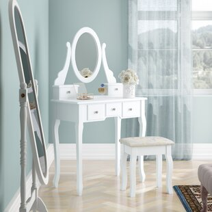 Mattias Dressing Table Set With Mirror By Lily Manor