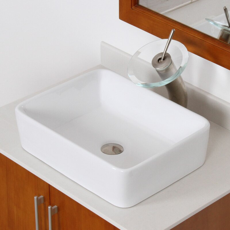 Elite Ceramic Rectangular Vessel Bathroom Sink Reviews Wayfair