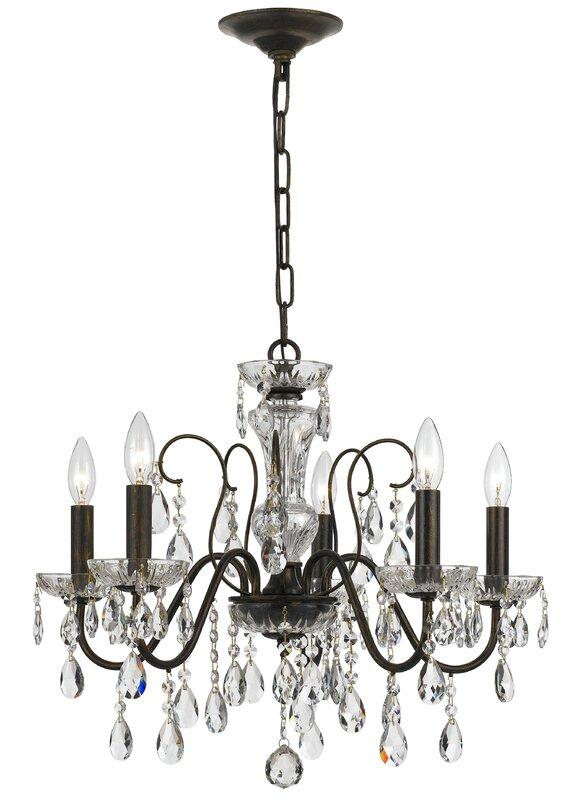 Roney 5 light crystal chandelier reviews birch lane roney 5 light crystal chandelier mozeypictures Choice Image