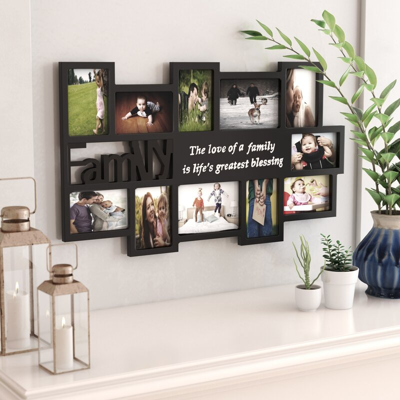 Ebern Designs Clippercove 11 Opening Wooden Photo Collage Wall Hanging Picture Frame Reviews Wayfair