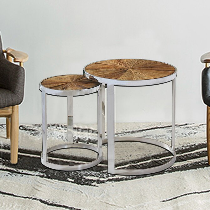 Eclisse Reclaimed Elm Wood 2 Piece Nesting Tables
