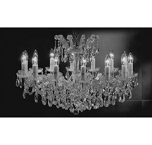 Astoria Grand Alvarado Swarovski 14-Light Traditional Candle Style Chandelier
