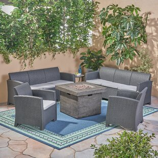 Babb Outdoor 5 Piece Rattan Sofa Seating Group with Cushions