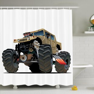 Myaa Monster Truck Racing Shower Curtain Set