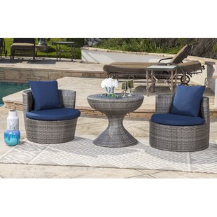 Battista Outdoor Wicker 3 Pieces Rattan Conversation Set with Cushions