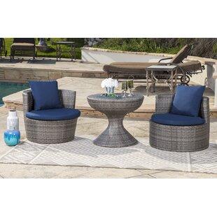 Battista Outdoor Wicker 3 Pieces Rattan Conversation Set with Cushions