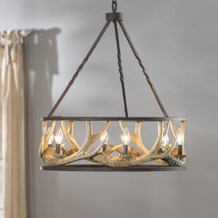 Los Angeles 6 Light Candle Style Wagon Wheel Chandelier
