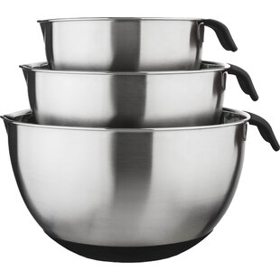 3 Piece 18/10 Stainless Steel Mixing Bowl Set