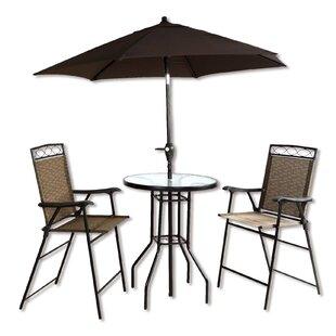 Stjean 4 Piece Bar Height Dinning Set With Umbrella