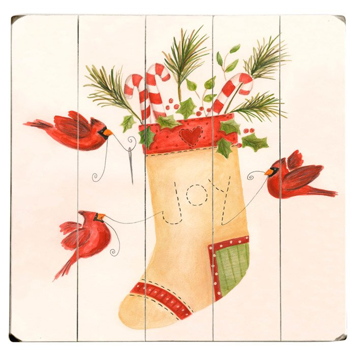 Artehouse Llc Joy Stocking Graphic Art Print Multi Piece Image On Wood Wayfair