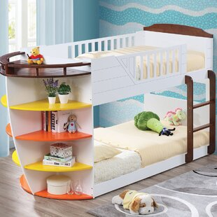 Zoomie Kids Youngs Twin Slat Bunk Bed with Storage Shelves