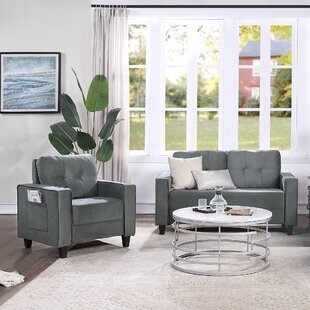 Sofa Set Morden Style Couch Furniture Upholstered Armchair, Loveseat And Three Seat For Home Or Office (1+2 Seat) by Mercer41