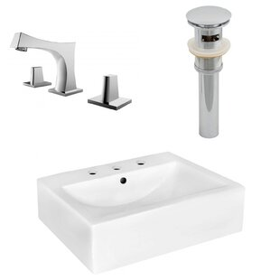 Compare Ceramic 20 Wall-Mount Bathroom Sink with Faucet and Overflow ByRoyal Purple Bath Kitchen