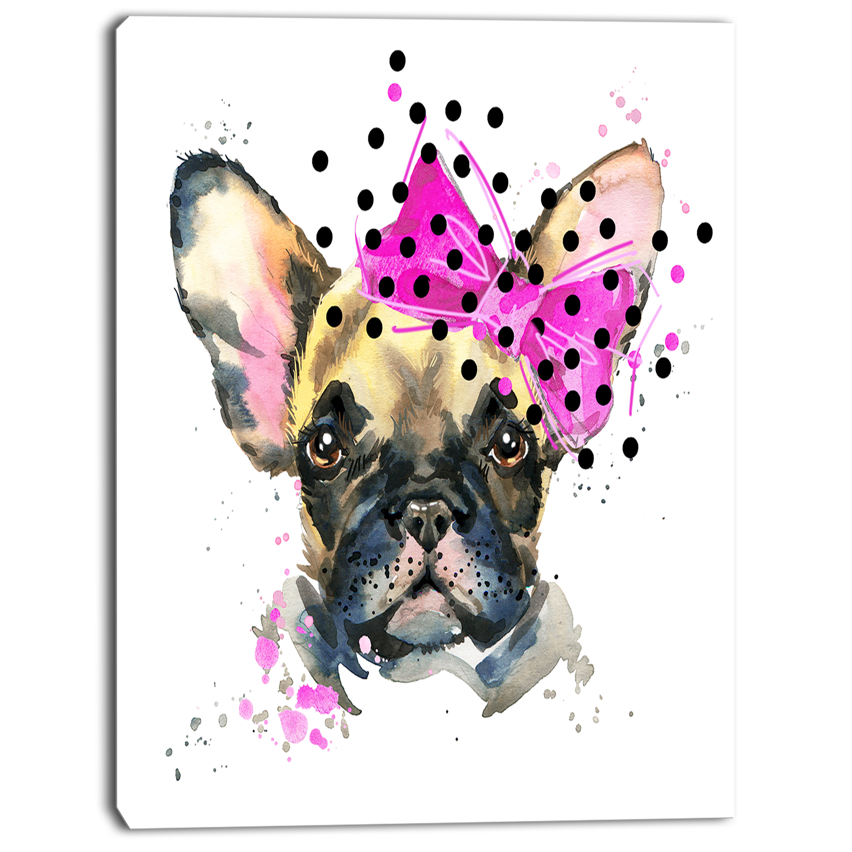 Hipster French Bulldog encadrée Lyric page toile photo art pop art #221