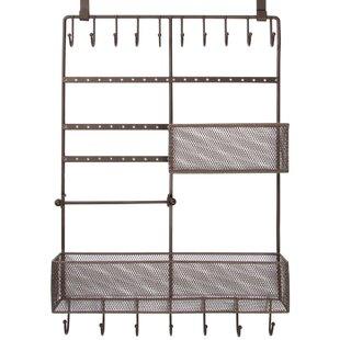 Read Reviews Decorative Jewelry and Belt 17 Hook/2 Basket Hanging Overdoor Organizer By HomeCrate